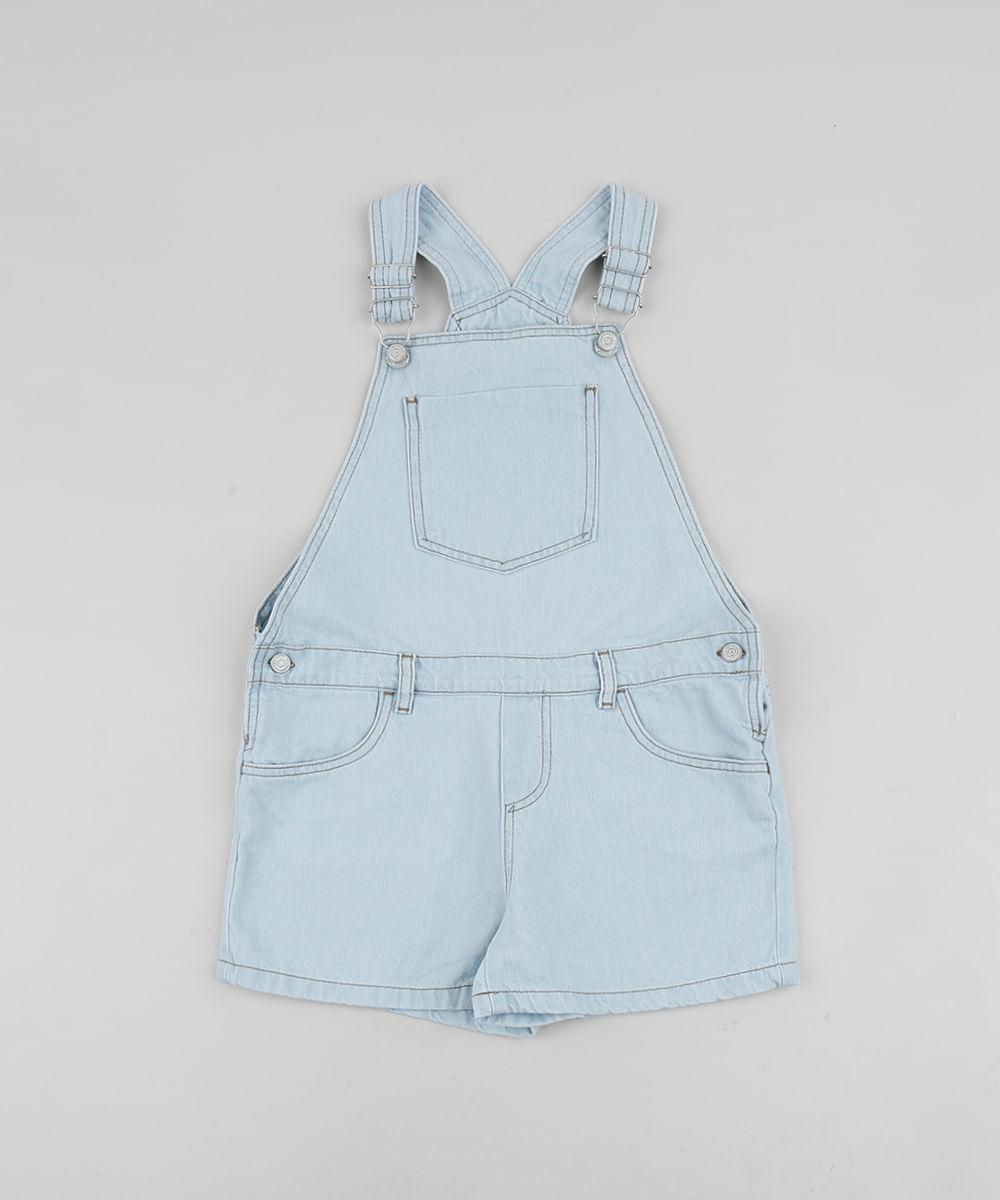 Jardineira Jeans infantil com Bolsos Azul