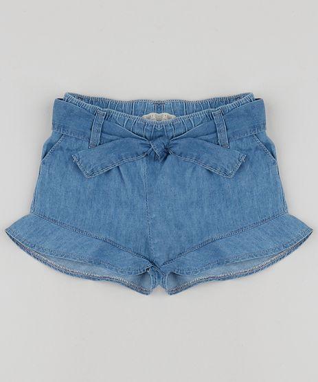 Short-Jeans-Infantil-com-Faixa-para-Amarrar-e-Babado--Azul-9958020-Azul_1