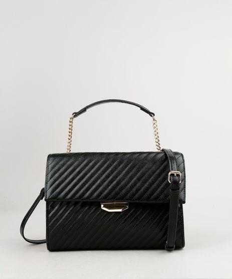 Bolsa-Feminina-Pequena-Matelasse-com-Corrente-e-Alca-Transversal-Preta-9865139-Preto_1