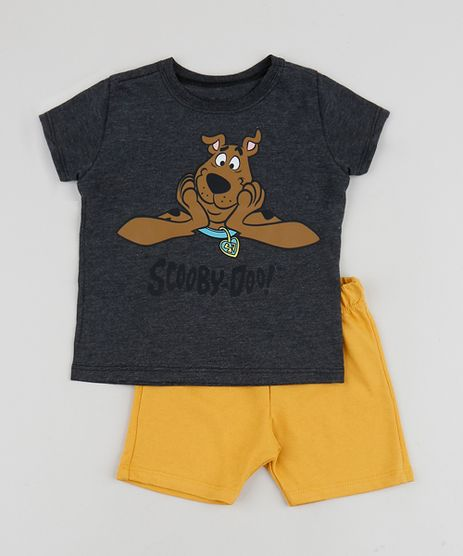 Conjunto-Infantil-Camiseta-Scooby-Manga-Curta-Cinza-Mescla-Escuro---Short--Mostarda-9952694-Mostarda_1