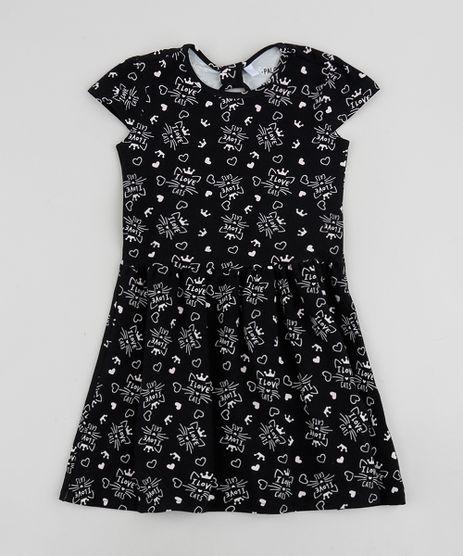 Vestido-Infantil-Estampado-de-Gatinhos-Manga-Curta-Preto-9961597-Preto_1