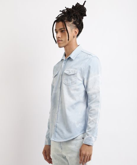 Camisa-Jeans-Masculina-Comfort-Estampada-Tie-Dye-Manga-Longa-Azul-9958647-Azul_1