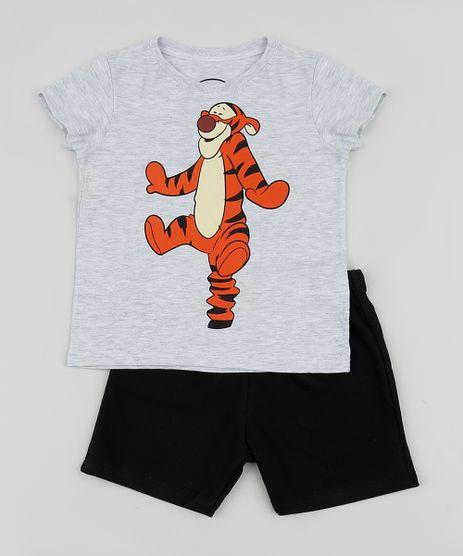 Conjunto-Infantil-Tigrao-de-Camiseta-Manga-Curta-Cinza-Mescla---Bermuda-em-Moletom-Preto-9952696-Preto_1
