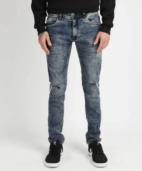 Calca-Jeans-Masculina-Skinny-Destroyed-com-Bolsos-Azul-Claro-9949987-Azul_Claro_1