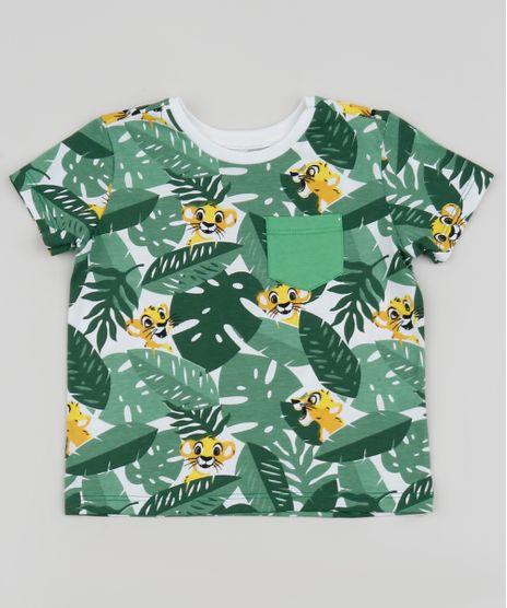 Camiseta-Infantil-O-Rei-Leao-Estampada-Manga-Curta-Verde-9953795-Verde_1