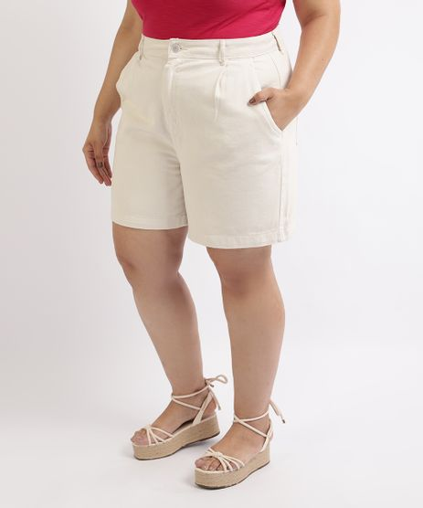 Bermuda-de-Sarja-Feminina-Plus-Size-Cintura-Alta-com-Bolsos-e-Pregas-Off-White-9959825-Off_White_1