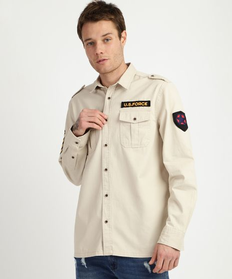 Camisa-de-Sarja-Masculina-Overshirt-Bege-9834863-Bege_1