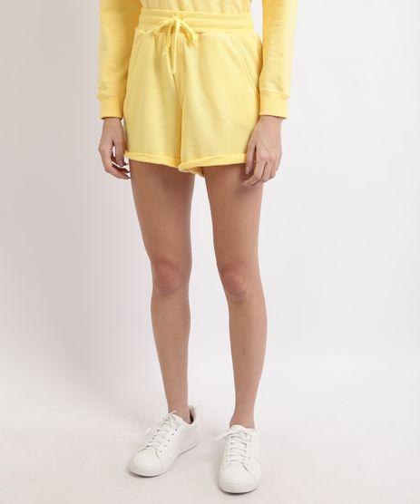 Short-de-Moletom-Feminino-Basico-Cintura-Alta-com-Barra-Dobrada-Amarelo-Claro-9950156-Amarelo_Claro_1
