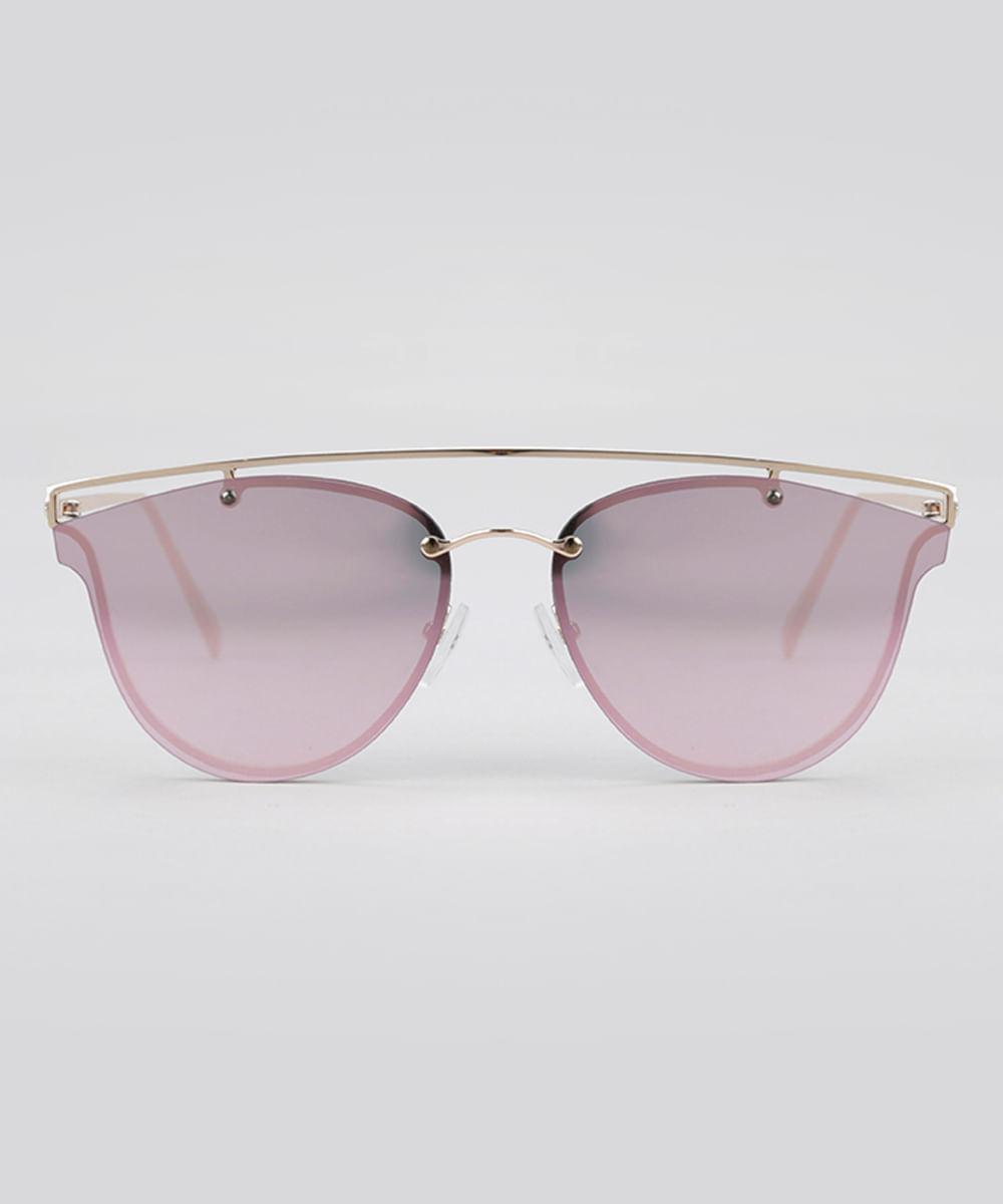 8368d236ef547 Óculos de Sol Redondo Espelhado Feminino Oneself Dourado - Único