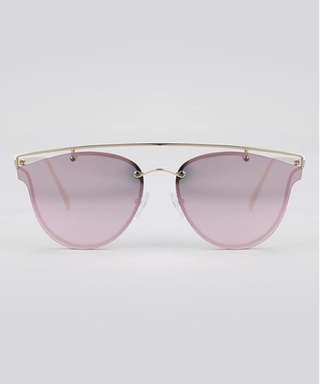 Oculos-de-Sol-Redondo-Espelhado-Feminino-Oneself-Dourado-8759607-Dourado_1