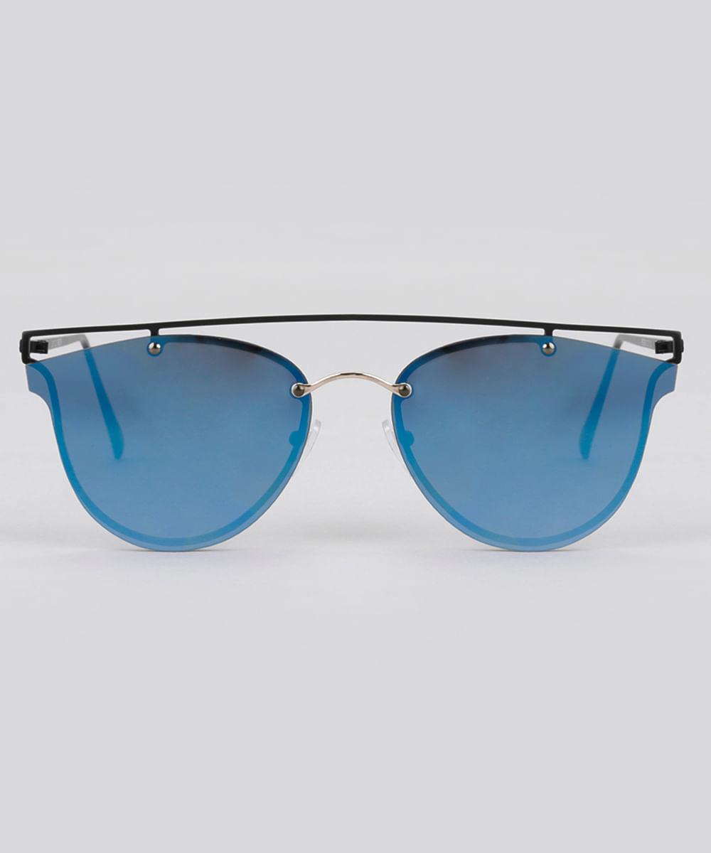 ce84fe70a7012 Óculos de Sol Redondo Espelhado Feminino Oneself Preto - ceacollections