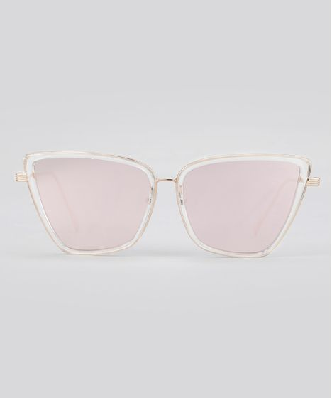 4f05c5581cb6b Óculos de Sol Quadrado Espelhado Feminino Oneself Dourado - cea