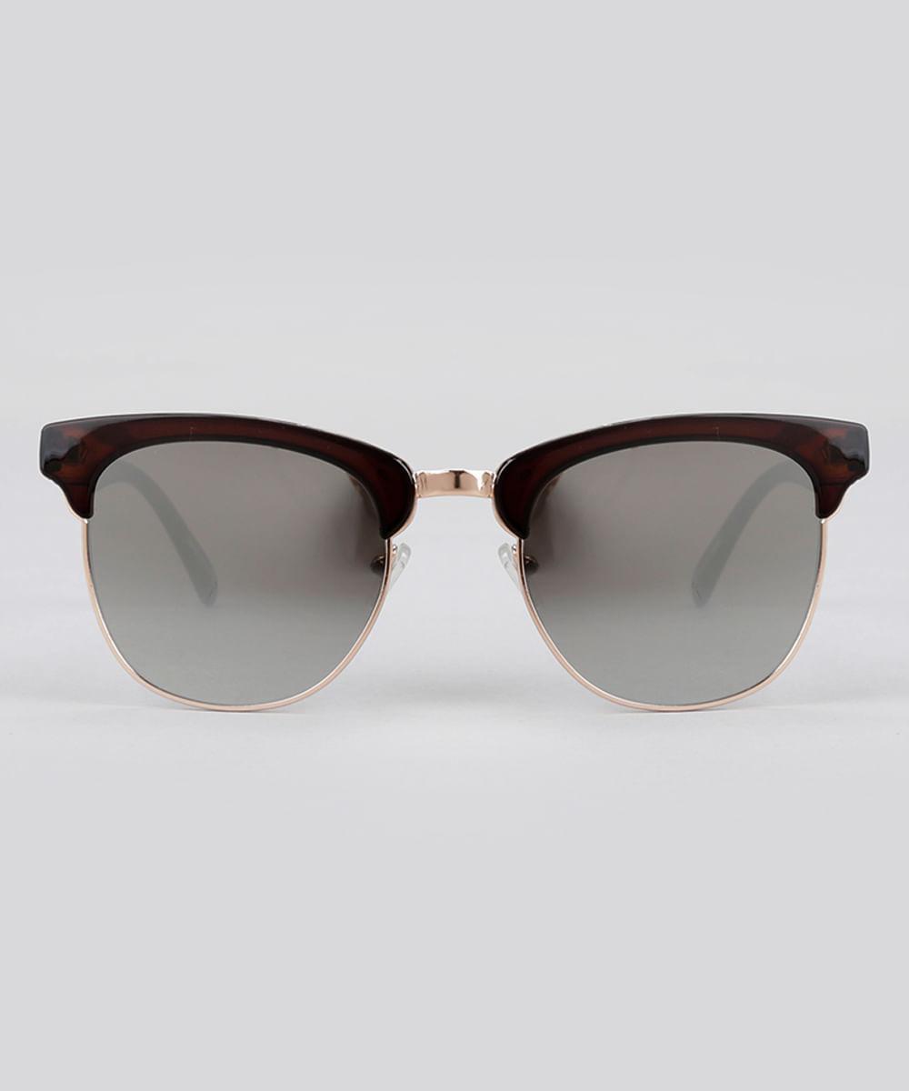 7101f347b841b Óculos de Sol Quadrado Espelhado Feminino Oneself Marrom - Único