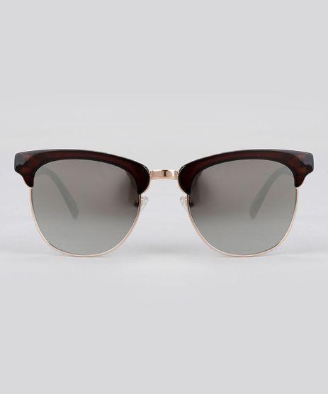 9bb0aa6bd6b46 Oculos-de-Sol-Quadrado-Espelhado-Feminino-Oneself-Marrom-