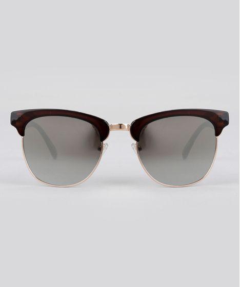 732ae7544f964 Óculos de Sol Quadrado Espelhado Feminino Oneself Marrom - cea