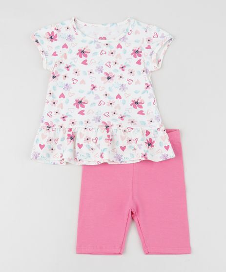 Conjunto-Infantil-de-Blusa-Estampada-Floral-com-Babado-Manga-Curta---Bermuda--Rosa-9952747-Rosa_1