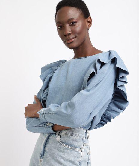 Blusa-Jeans-Feminina-Mindset-com-Babados-Manga-Longa-Decote-Redondo-Azul-Claro-9963098-Azul_Claro_1