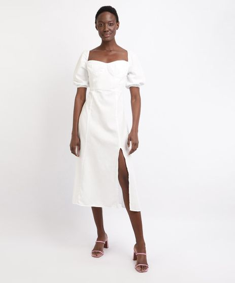 Vestido-Feminino-Mindset-Midi-com-Fenda-Manga-Bufante-Decote-Princesa-Branco-9963097-Branco_1