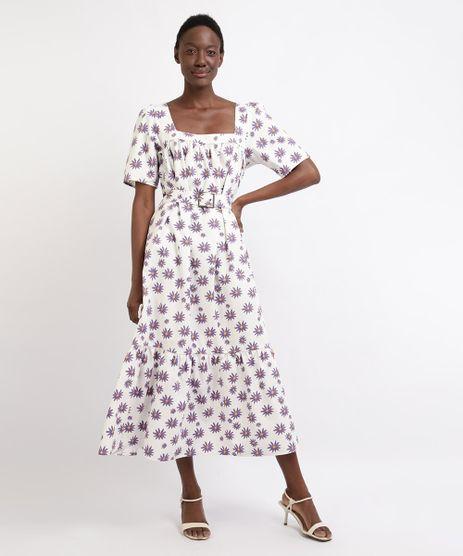 Vestido-Feminino-Mindset-Midi-Estampado-Floral-Manga-Curta-com-Cinto-Branco-9962181-Branco_1