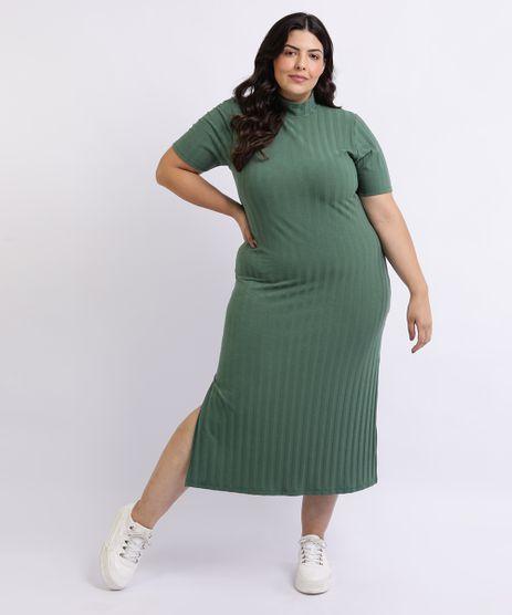 Vestido-Feminino-Mindset-Plus-Size-Midi-com-Fenda-Manga-Curta-e-Gola-Alta-Verde-9959944-Verde_1