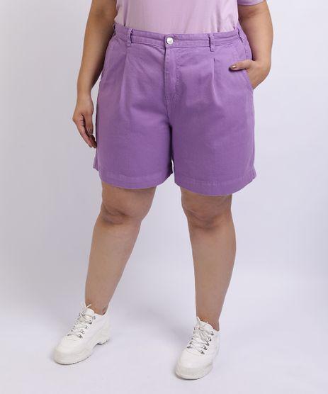 Short-Feminino-Mindset-Plus-Size-de-Sarja-Slouchy-Cintura-Alta-com-Bolsos-Lilas-9962171-Lilas_1