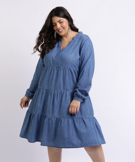 Vestido-Feminino-Mindset-Plus-Size-Curto-com-Recortes-Manga-longa-Azul-Medio-9962175-Azul_Medio_1