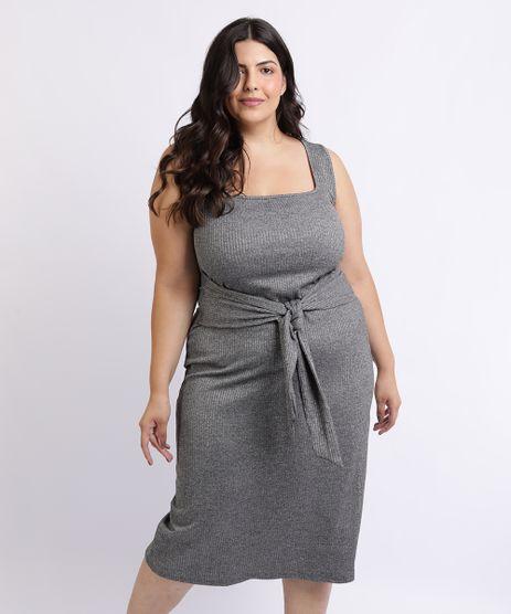 Vestido-Feminino-Mindset-Plus-Size-Midi-com-Faixa-Para-Amarrar-na-Cintura-Decote-Quadrado-Cinza-Mescla-Escuro-9962185-Cinza_Mescla_Escuro_1