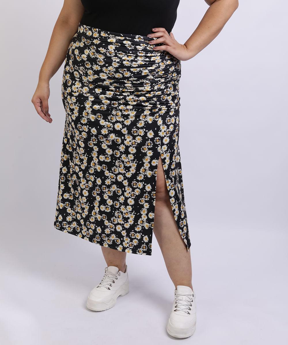Saia Feminina Mindset Plus Size Midi Estampada Floral de Margarias com Fenda Preta