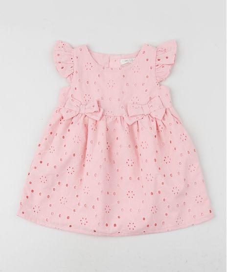 Vestido-em-Laise-Infantil-com-Lacos-Manga-Curta-Rosa-9948092-Rosa_1