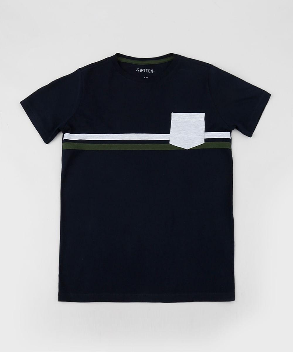 Camiseta Juvenil com Listras e Bolso Manga Curta Gola Careca Azul Marinho