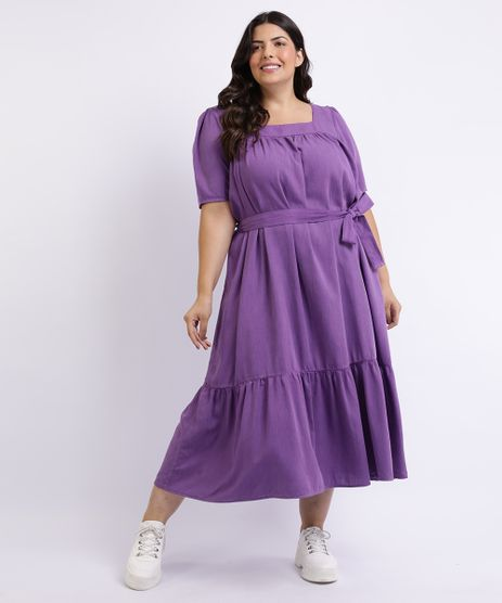 Vestido-Feminino-Mindset-Plus-Size-Longo-com-Recortes-e-Faixa-para-Amarrar-Manga-Curta-Decote-Quadrado-Roxo-9962195-Roxo_1
