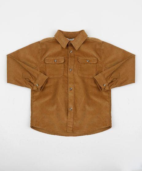 Camisa-em-Veludo-Infantil-Estampada-Com-Bolsos-Caramelo-9807686-Caramelo_1