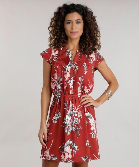b567879e714fa ... Recortes Azul Marinho · consultar em lojas. c-a.  Vestido-Estampado-Floral-Laranja-Escuro-8582951-Laranja Escuro 1