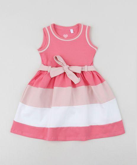 Vestido-Infantil-com-Laco-e-Listras-Sem-Manga-Rosa-Claro-9953023-Rosa_Claro_1