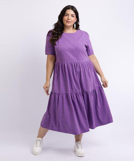 Vestido-Feminino-Plus-Size-Midi-Com-Babado-Manga-Curta-Roxo-9958941-Roxo_1
