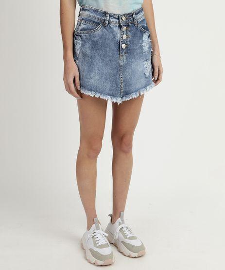 Short-Saia-Jeans-Feminino-Destroyed-com-Botoes-e-Barra-Desfiada-Azul-9835349-Azul_1