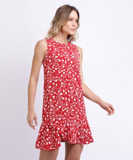 Vestido-Feminino-Curto-Estampado-Floral-com-Babado-Vermelho-9889492-Vermelho_1