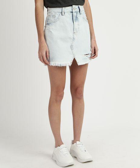 Saia-Jeans-Feminina-Curta-Destroyed-Cintura-Alta-com-Fenda--Azul-9932315-Azul_1