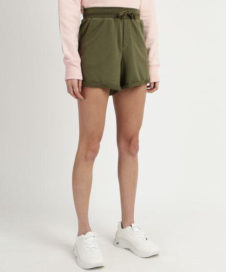Short-de-Moletom-Feminino-Basico-Cintura-Alta-com-Barra-Dobrada-Verde-Escuro-9950156-Verde_Escuro_1