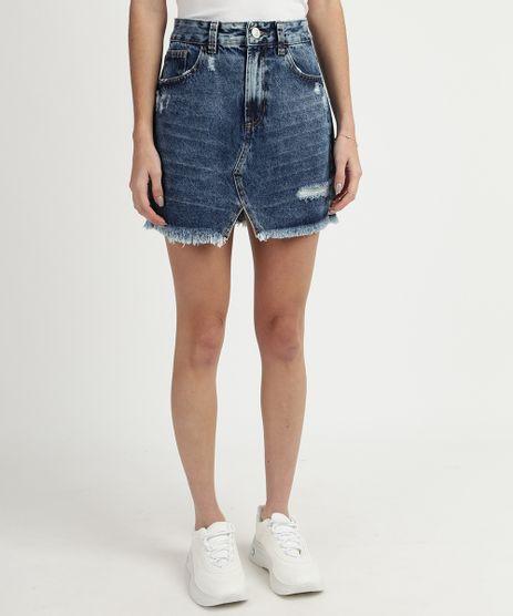 Saia-Jeans-Feminina-Curta-Destroyed-Cintura-Alta-com-Fenda--Azul-9932316-Azul_1