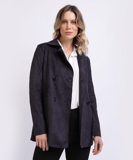 Casaco-Trench-Coat-Suede-Feminino-Transpassado-com-Faixa-para-Amarrar-Preto-9818020-Preto_1