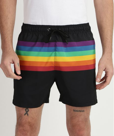 Short-Masculino-Pride-Estampado-Listrado-Arco-Iris--Preto-9959889-Preto_1