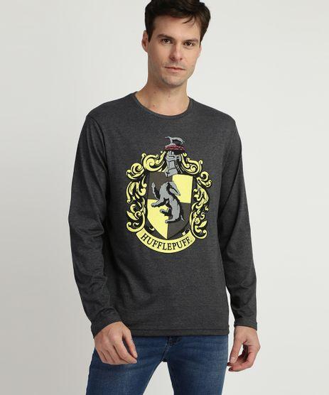 Camiseta-Masculina--Hufflepuff--Harry-Potter-Manga-Longa-Gola-Careca-Cinza-9957540-Cinza_1