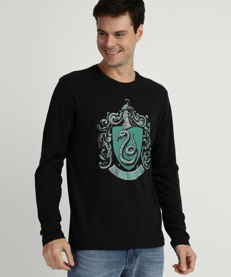 Camiseta-Masculina--Slytherin--Harry-Potter-Manga-longa-Gola-Careca-Preta-9957539-Preto_1