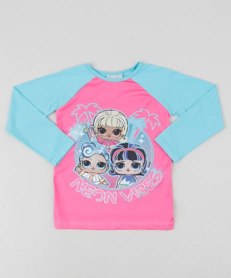 Blusa-de-Praia-Infantil-LOL-Surprise-Manga-Longa-Raglan-com-Protecao-UV50--Azul-Claro-9942596-Azul_Claro_1