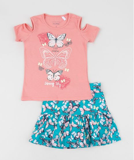 Conjunto-Infantil-de-Blusa-Open-Shoulder-Manga-Curta-Rosa---Saia-Estampada-Azul-9954816-Azul_1