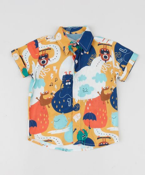 Camisa-Infantil-Estampada-de-Monstros-Manga-Curta-Multicor-9954869-Multicor_1