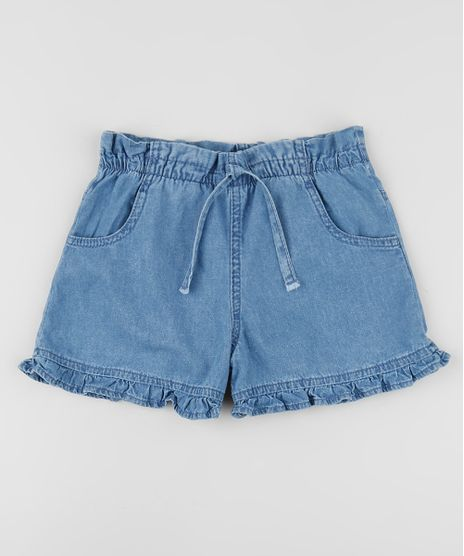 Short-Jeans-Infantil-Clochard-com-Faixa-para-Amarrar-e-Babado-Azul-Medio-9958618-Azul_Medio_1
