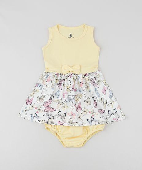 Vestido-Infantil-com-Laco-Estampado-de-Borboletas-sem-Manga-Decote-Redondo---Calcinha--Amarelo-9958883-Amarelo_1