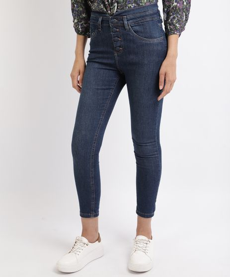 Calca-Jeans-Feminina-Cigarrete-com-Botoes-Cintura-Alta-Azul-9951810-Azul_1
